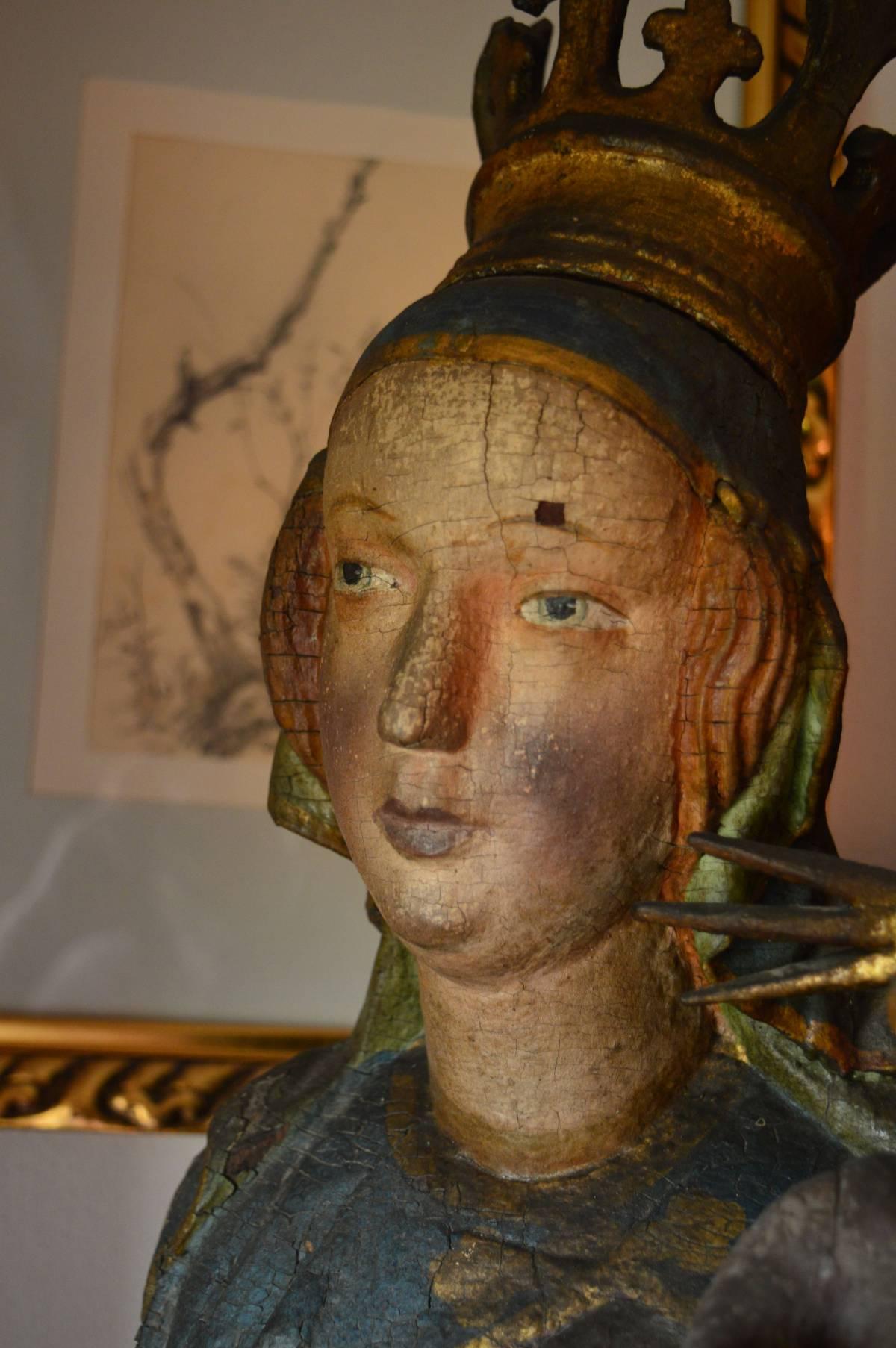 sandl hinterglasbild gotische madonna bauerntruhe